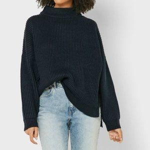 TOPSHOP Navy Funnel Neck Sweater Chunky Knit XS